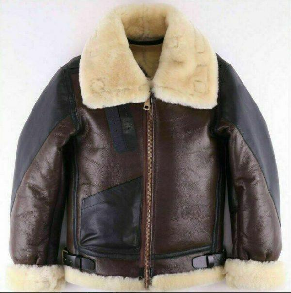 Men's Aviator USAF Real Sheepskin Shearling Black Brown Leather Bomber Flying Pilot Jacket