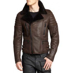 Men Biker Cafe Racer Brown Real Fur Winter Coat Real Sheepskin Shearling Leather Coat