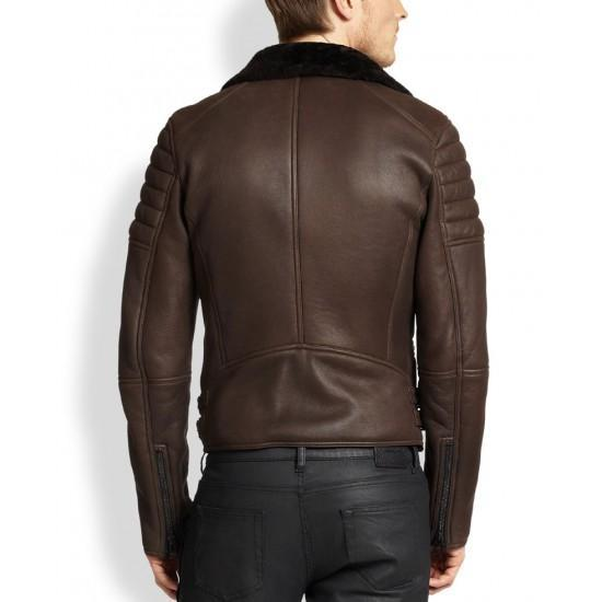Men Biker Cafe Racer Brown Real Fur Winter Coat Real Sheepskin Shearling Leather Coat B