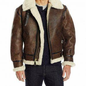 Men B3 Bomber RAF Fur Winter Real Sheepskin Shearling Brown Leather Jacket