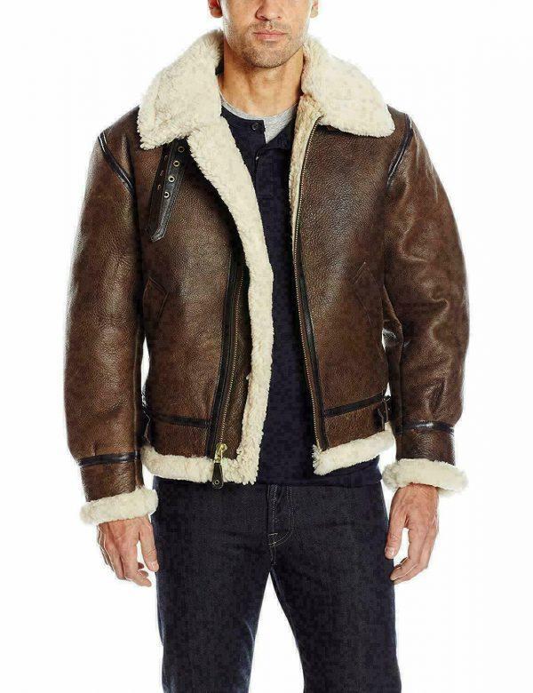 Men B3 Bomber RAF Fur Winter Real Sheepskin Shearling Brown Leather Jacket
