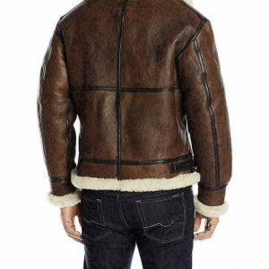 Men B3 Bomber RAF Fur Winter Real Sheepskin Shearling Brown Leather Jacket B