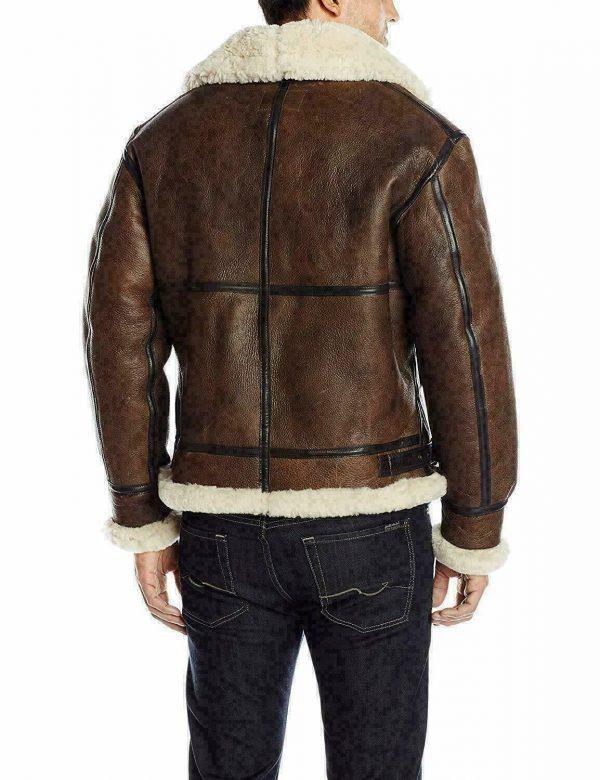 Men B3 Bomber RAF Fur Winter Real Sheepskin Shearling Brown Leather Jacket B