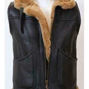Men B3 Bomber Real Sheepskin Shearling Pilot Aviator Winter Brown Leather Vest