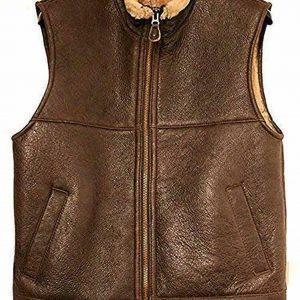 Men Bomber Real Sheepskin Shearling Pilot Aviator Winter Brown Leather Vest