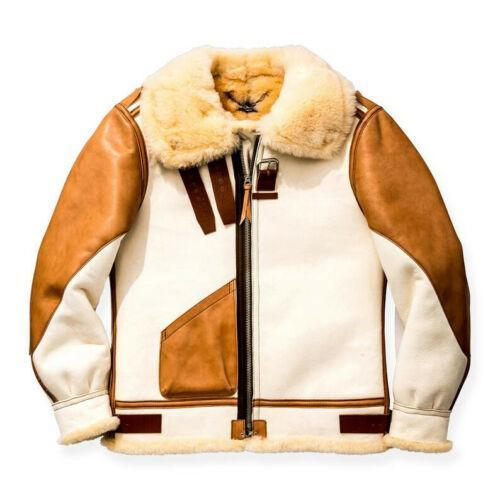 Men's Aviator USAF Real Sheepskin Shearling White Leather Bomber Flying Pilot Jacket