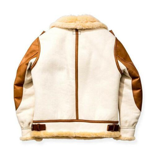Men's Aviator USAF Real Sheepskin Shearling White Leather Bomber Flying Pilot Jacket B