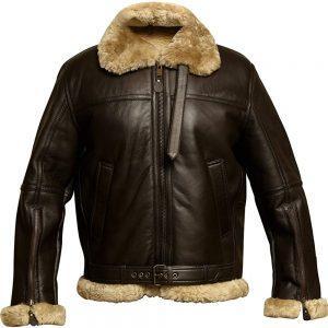 Men's B3 Bomber Pilot Aviator RAF Real Sheepskin Shearling Brown Leather Bomber Flying Pilot Leather Jacket