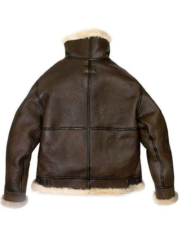 Men's B3 Bomber Aviator USAF Real Sheepskin Shearling Leather Bomber Flying Pilot Leather Jacket B