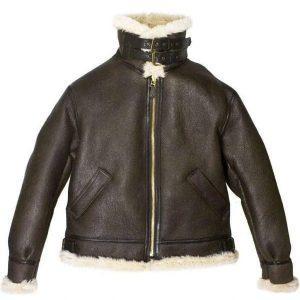 Men's B3 Bomber Aviator USAF Real Sheepskin Shearling Leather Bomber Flying Pilot Leather Jacket 1