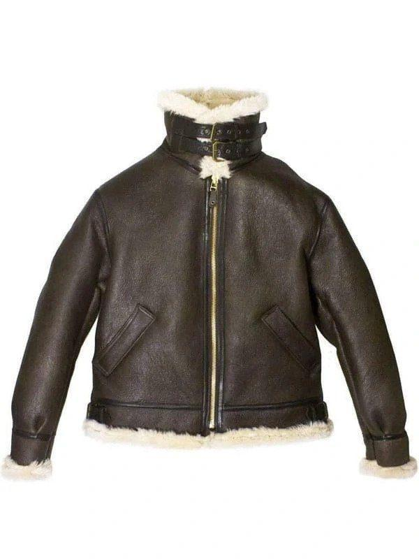 Men's B3 Bomber Aviator USAF Real Sheepskin Shearling Leather Bomber Flying Pilot Leather Jacket 1