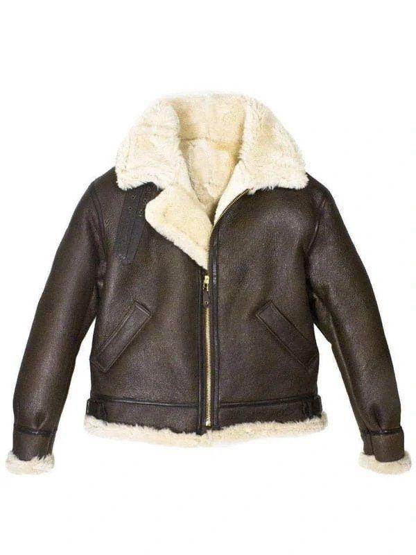 Men's B3 Bomber Aviator USAF Real Sheepskin Shearling Leather Bomber Flying Pilot Leather Jacket