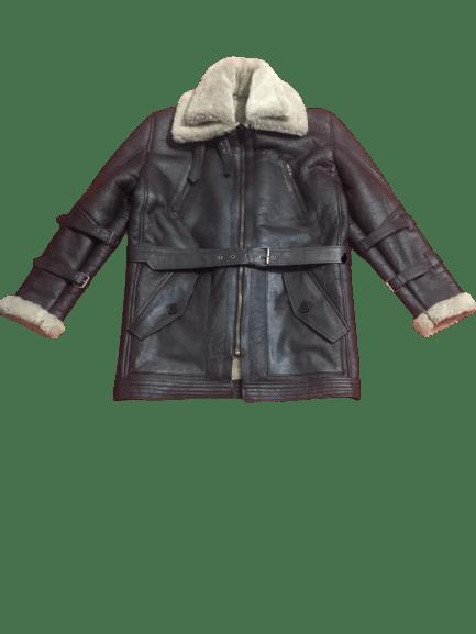 Men's B3 Bomber Aviator USAF Real Sheepskin Shearling Leather Bomber Flying Pilot Leather Jacket Coat