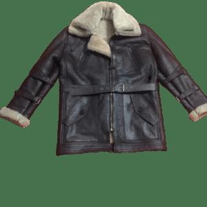Men's B3 Bomber Aviator USAF Real Sheepskin Shearling Leather Bomber Flying Pilot Leather Jacket Coat 1
