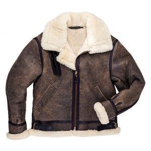 Men's B3 Bomber Pilot Aviator RAF Real Sheepskin Shearling Distressed Leather Bomber Flying Pilot Leather Jacket