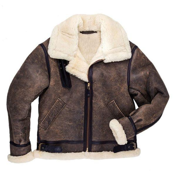 Men's B3 Bomber Pilot Aviator RAF Real Sheepskin Shearling Distressed Leather Bomber Flying Pilot Leather Jacket