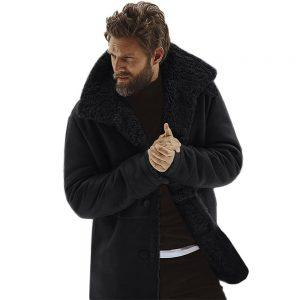 Mens Vintage Black Real Fur Winter Coat Real Sheepskin Shearling Leather Coat