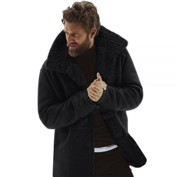 Mens Vintage Black Real Fur Winter Coat Real Sheepskin Shearling Leather Coat