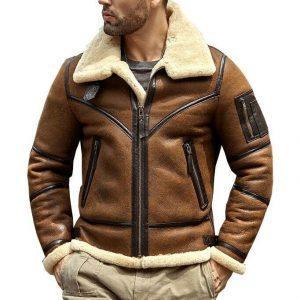 Men's Bomber Pilot Aviator RAF Real Sheepskin Shearling Brown Leather Bomber Flying Pilot Leather Jacket