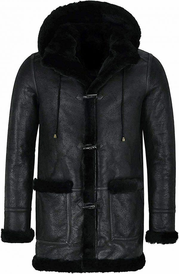 Men's Bomber Pilot Aviator RAF Real Sheepskin Shearling Black Leather Duffle Safari Coat