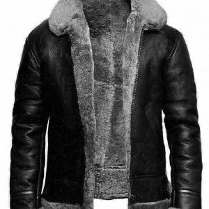 Men's B3 Bomber Pilot Aviator RAF Real Sheepskin Grey Shearling Black Leather Bomber Flying Pilot Leather Jacket