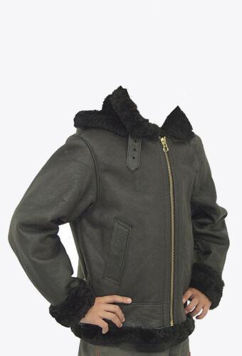Kid B3 Bomber Unisex Winter Real Sheepskin Shearling Pilot Black Leather Jacket