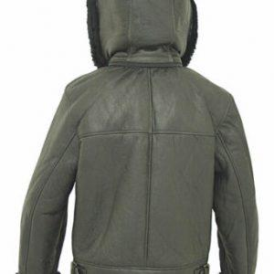 Kid B3 Bomber Unisex Winter Real Sheepskin Shearling Pilot Black Leather Jacket B