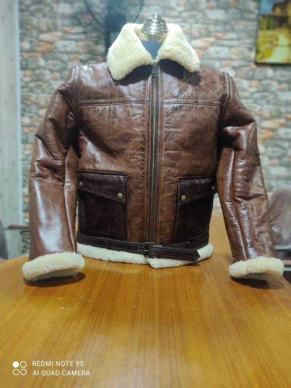 Kid B3 Bomber Unisex Winter Real Sheepskin Shearling Pilot Brown Leather Jacket