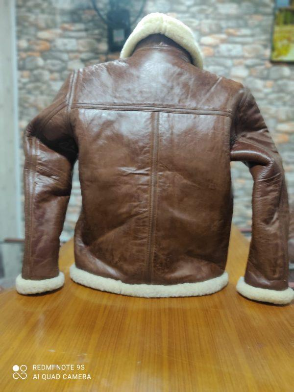 Kid B3 Bomber Unisex Winter Real Sheepskin Shearling Pilot Brown Leather Jacket B