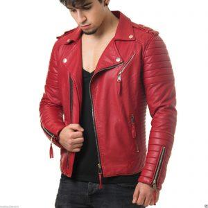 Mens Quilted Diamond Real Lamb Skin Slim fit Red Leather Jacket