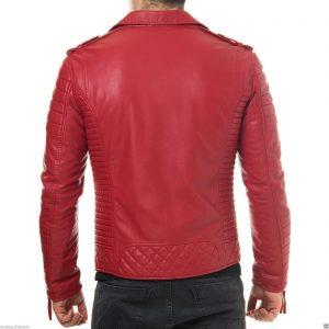 Mens Quilted Diamond Real Lamb Skin Slim fit Red Leather Jacket B