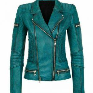 Women Slim Fit Diamond Quilted Moto Teal Leather Jacket