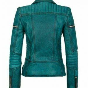 Women Slim Fit Diamond Quilted Moto Teal Leather Jacket B