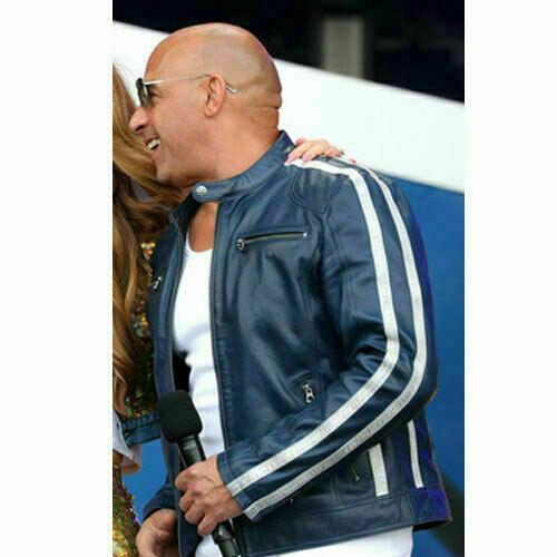 FAST AND FURIOUS 9 VIN DIESEL FF9 FATHERHOOD BLUE LEATHER JACKET3