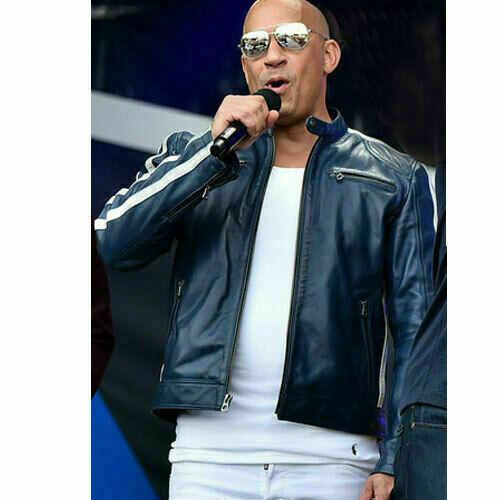FAST AND FURIOUS 9 VIN DIESEL FF9 FATHERHOOD BLUE LEATHER JACKET2