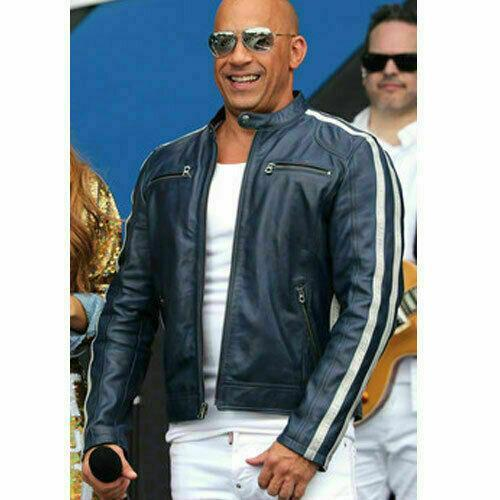 FAST AND FURIOUS 9 VIN DIESEL FF9 FATHERHOOD BLUE LEATHER JACKET1