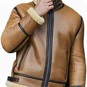 Men Bomber Pilot Aviator RAF Real Sheepskin Shearling Brown Leather Flying Leather Jacket