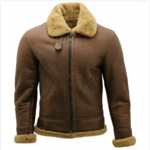 Men Bomber Pilot Aviator USAF Real Sheepskin Shearling Brown Leather Flying Leather Jacket