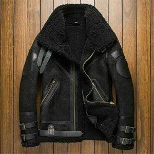 Men Black B3 RAF Aviator Flight Bomber Fur Sheep Skin Genuine Leather Jacket